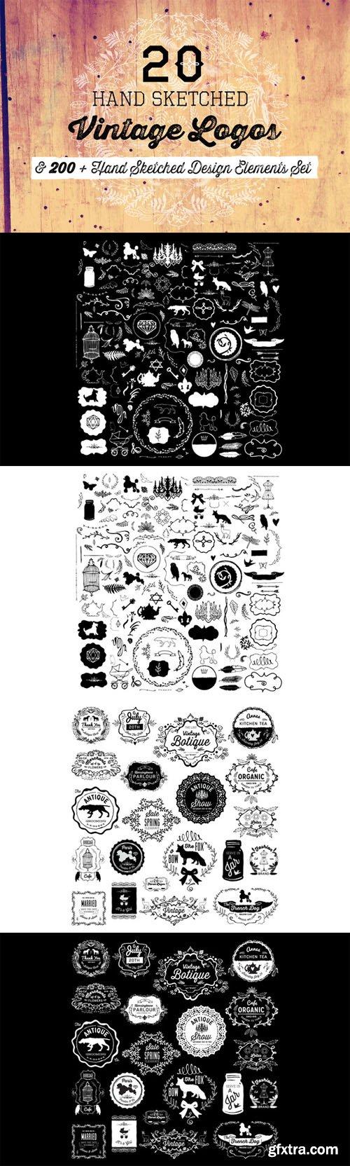 CreativeMarket - 20 Logos & 200+ Design Elements 117016