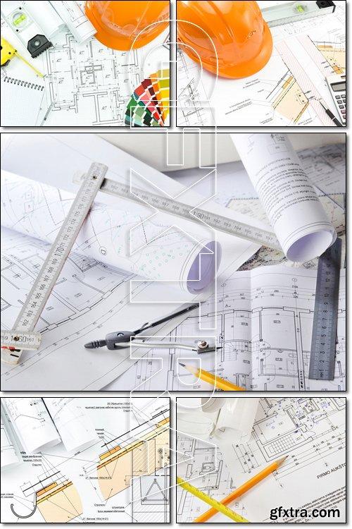 Engineer banner flat set. House blueprint construction concept - Stock photo