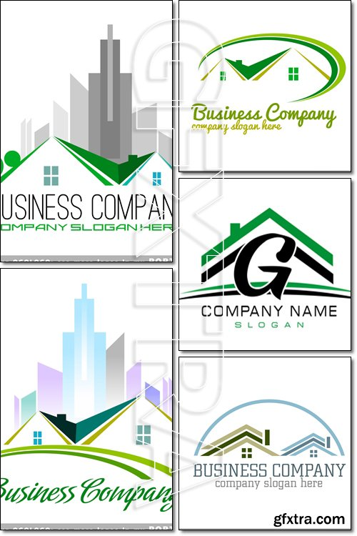 Logo, mansion, house, home, buildings, real, estate - Vector