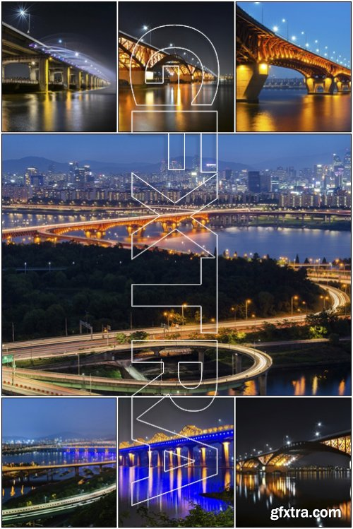 Korea Han-river's bridge, Seoul City. Seongsu Bridge at Night - Stock photo
