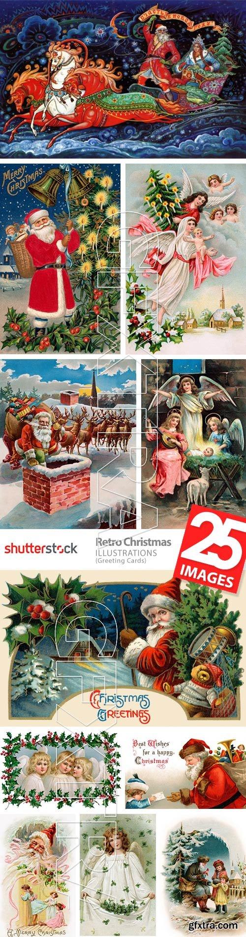 Retro Christmas Illustrations 25xJPG
