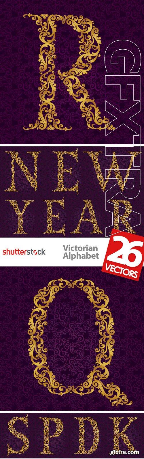 Victorian - Baroque Golden Alphabet 26xEPS