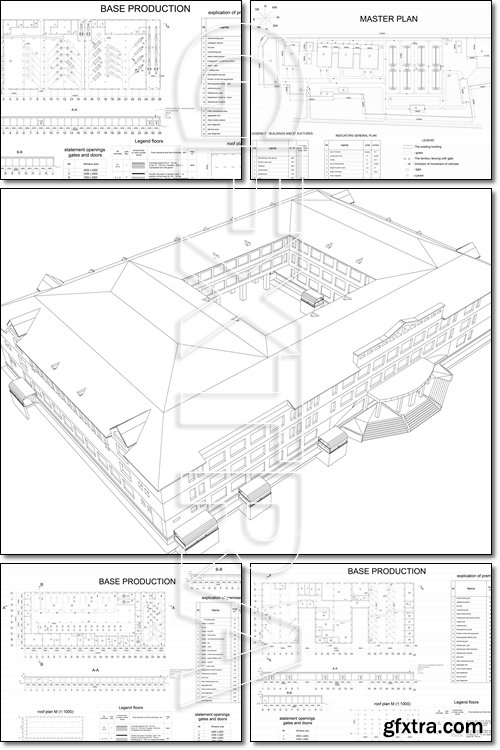 Detailed architectural drawing of the building motor company - Vector