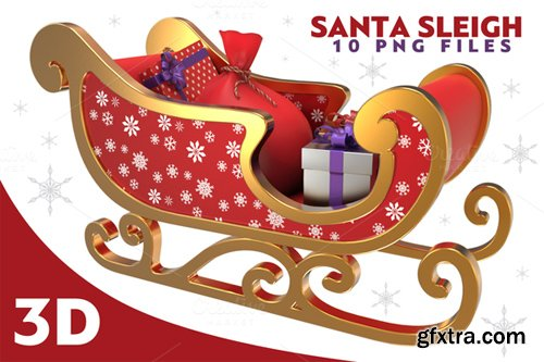 Santa Sleigh - 3D