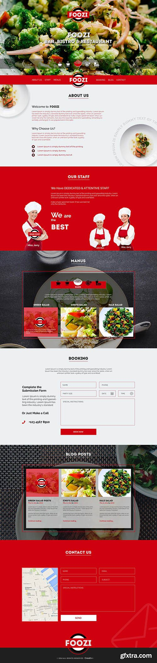 PSD Web Template - Foozi - Food & Restaurant One Page Theme