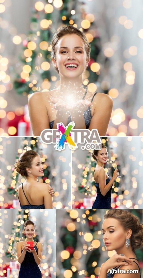 Stock Photo - Happy Christmas Woman
