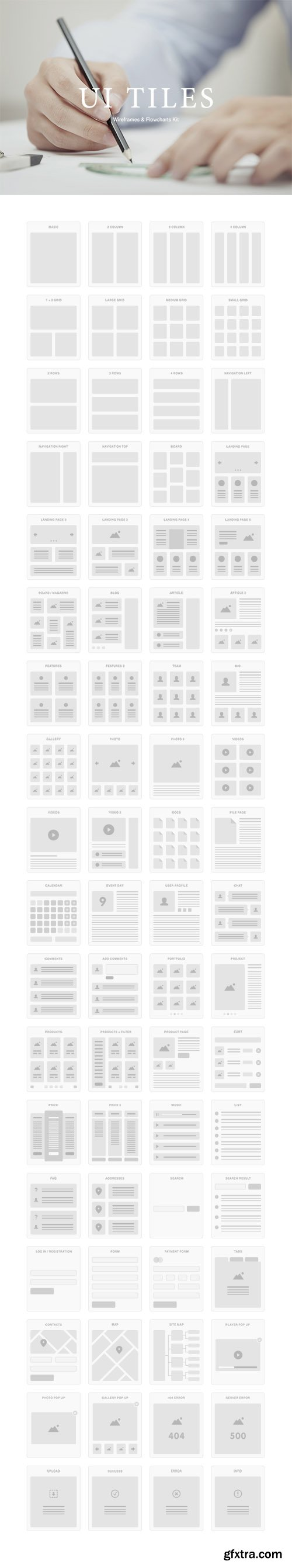 PSD, AI, Sketch UI Tiles - Wireframes And Flowcharts 2014
