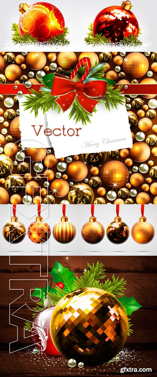 New Year's backgrounds in Vector with Christmas balls