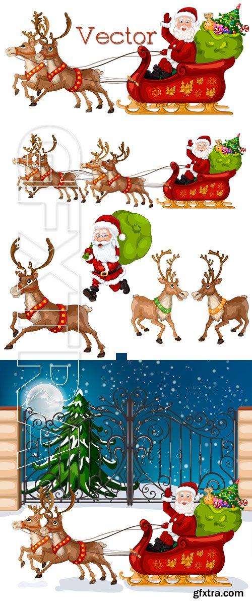 Christmas team of deer and Santa