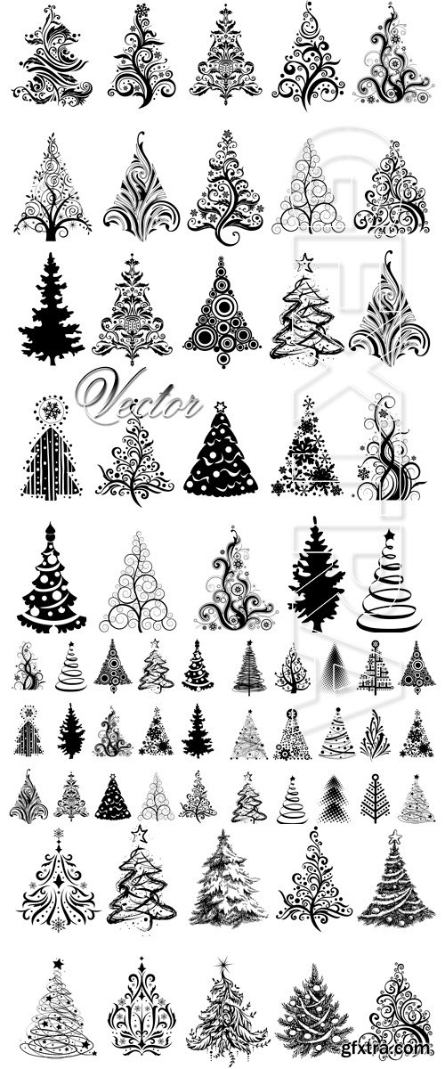 Decorative Fir-trees in Vector