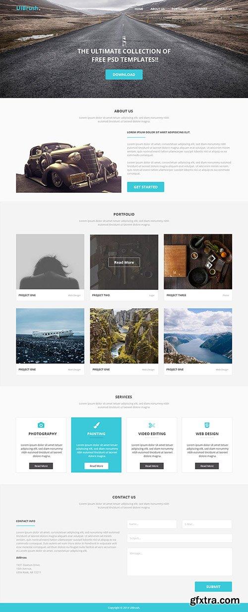 PSD Web Template - UIBrush Simple Landing Page