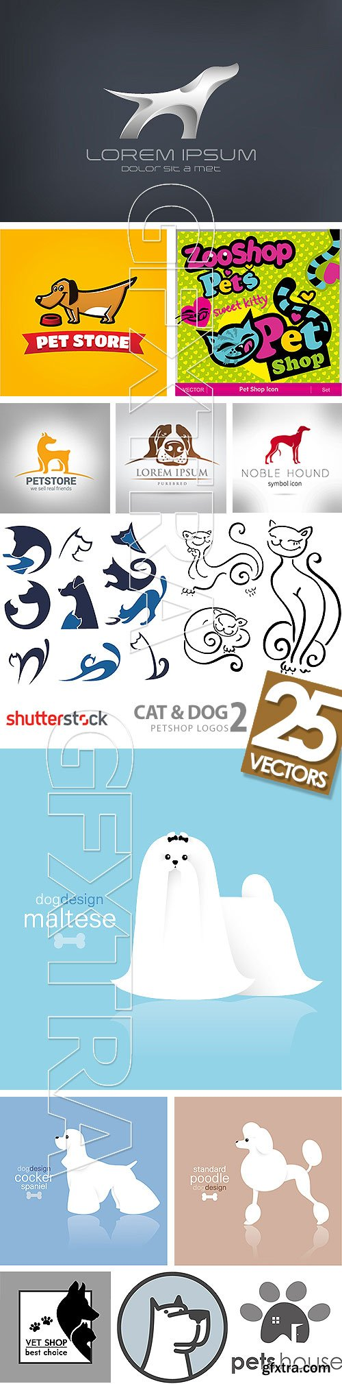 Cat & Dog Petshop Logos 2, 25xEPS
