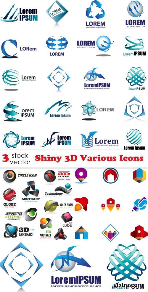 Vectors - Shiny 3D Various Icons