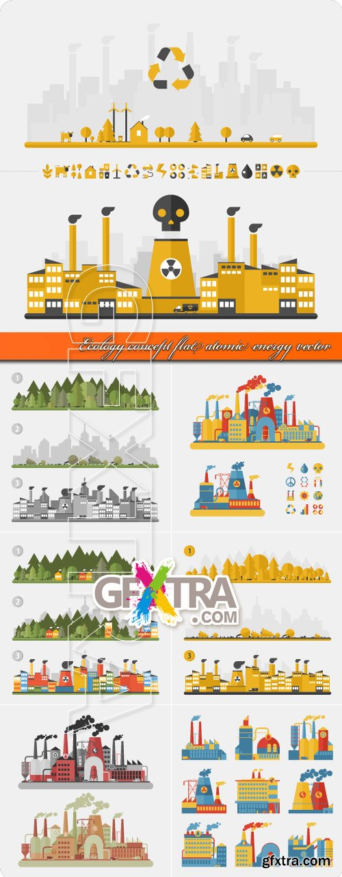 Ecology concept flat atomic energy vector