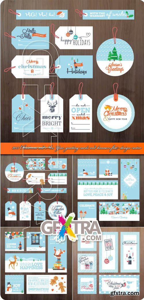 2015 Christmas and New Year greeting cards and banners flat design vector
