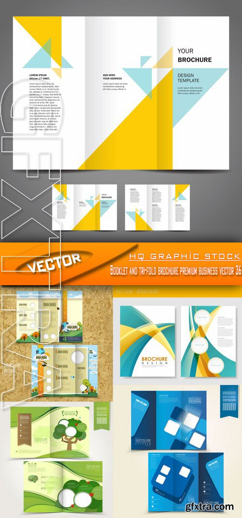 Stock Vector - Booklet and tri-fold brochure premium business vector 36