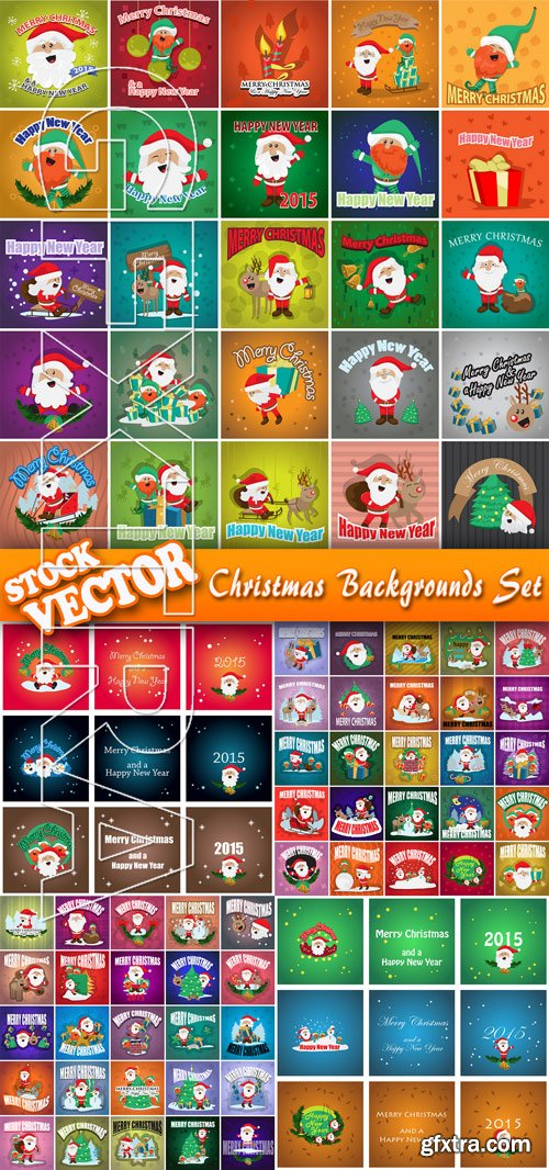 Stock Vector - Christmas Backgrounds Set