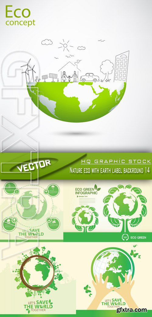 Stock Vector - Nature eco with earth label backround 14