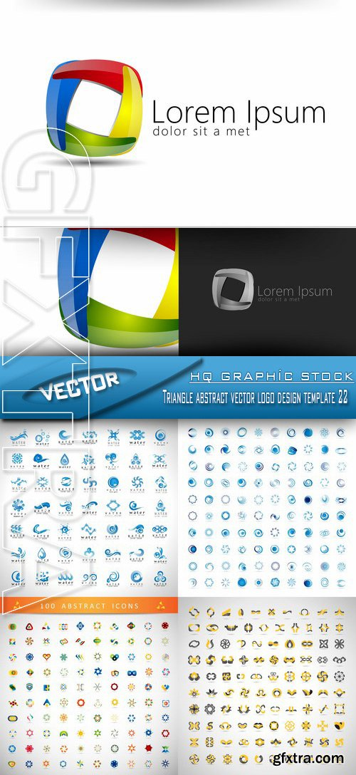 Stock Vector - Triangle abstract vector logo design template 22