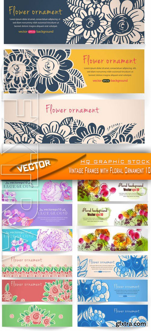 Stock Vector - Vintage Frames with Floral Ornament 10