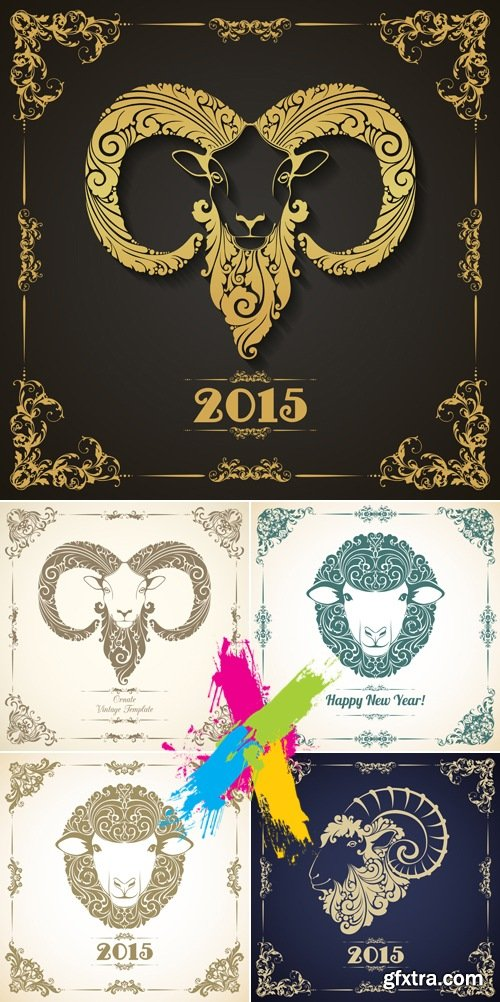 New Year 2015 Symbols - Goat & Sheep Vector
