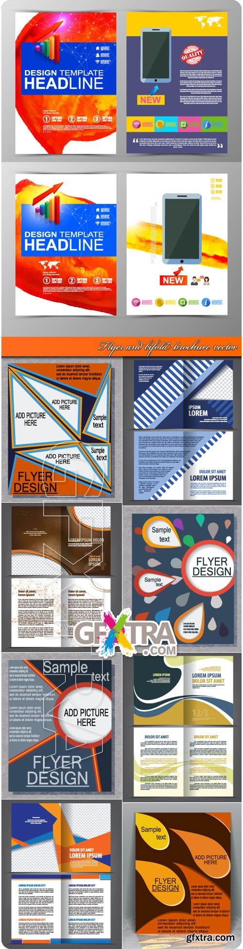 Flyer and bifold brochure vector