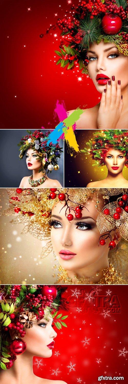 Stock Photo - Beautiful Christmas Woman