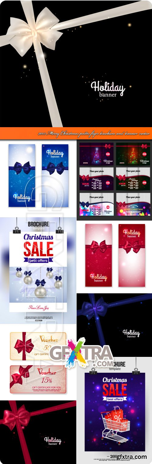 2015 Merry Christmas poster flyer brochure and banner vector