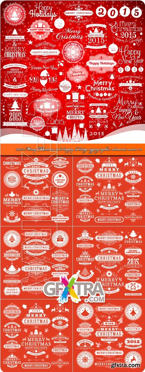 2015 Merry Christmas and happy holidays typographic elements vector 10