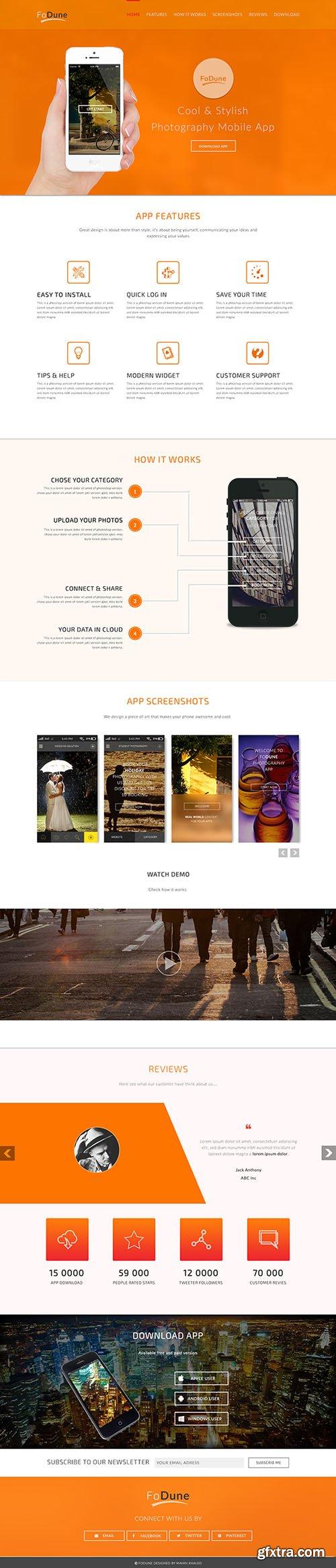 PSD Web Template - App Landing Page - Orange Color Style