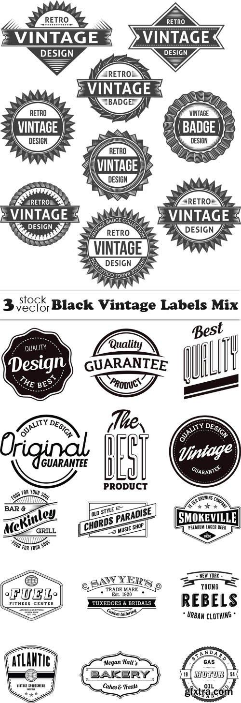 Vectors - Black Vintage Labels Mix