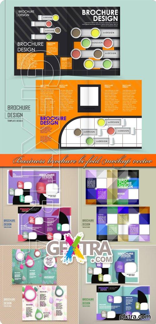 Business brochure bi-fold mockup vector