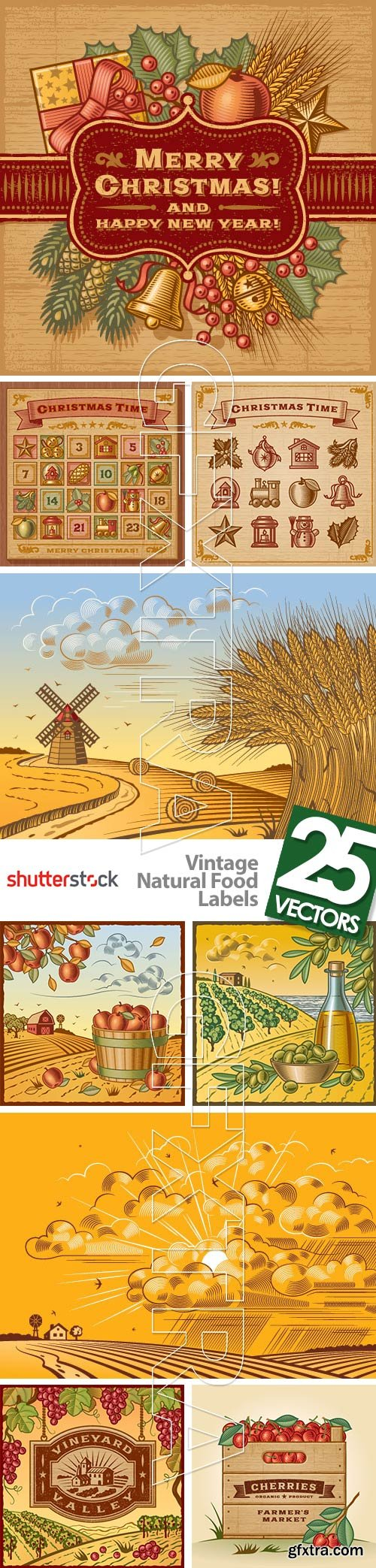 Vintage Natural Food Labels 25xEPS