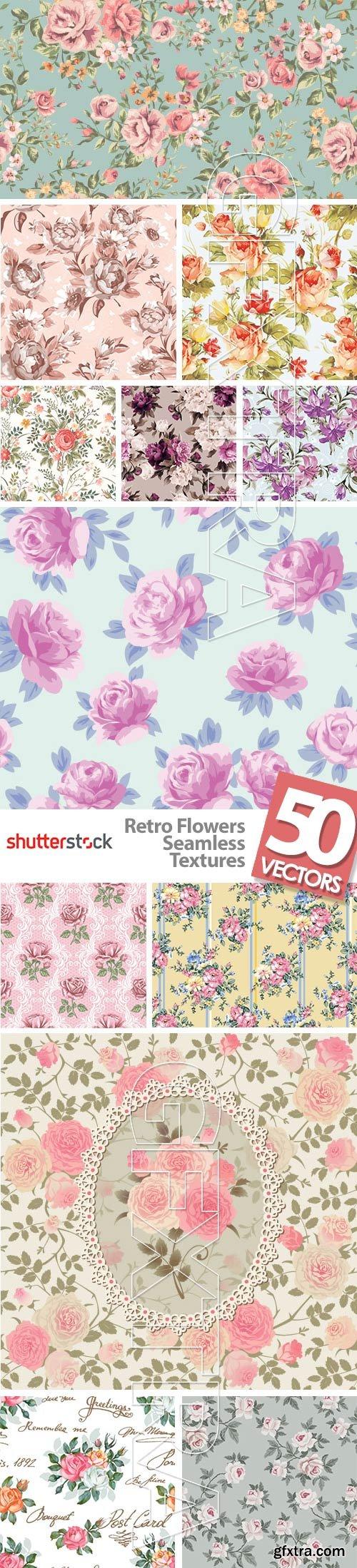 Retro Flowers Seamless Textures 50xEPS