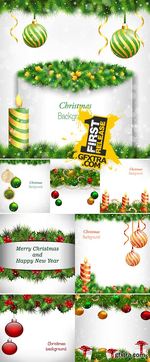 Stock Burning Christmas candle with holly sprigs, vector