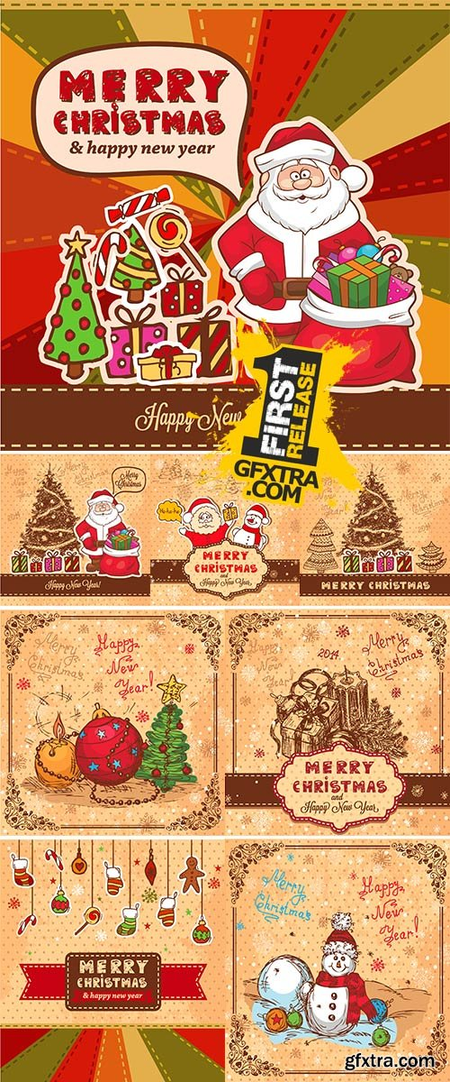 Stock Vector Vintage Christmas Card for Holiday Design