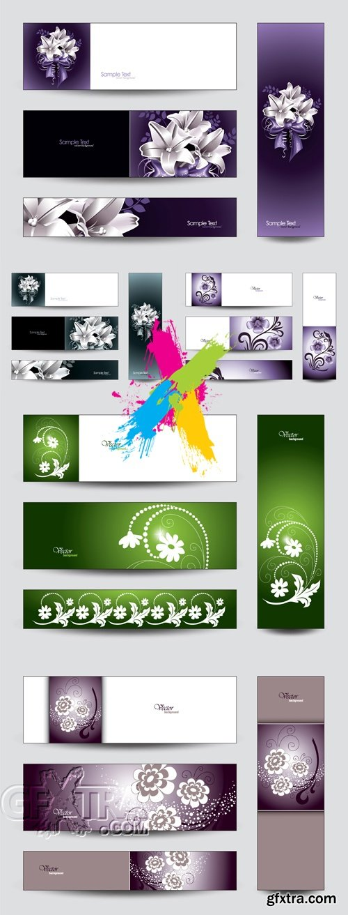 Cards with Flowers Vector 4