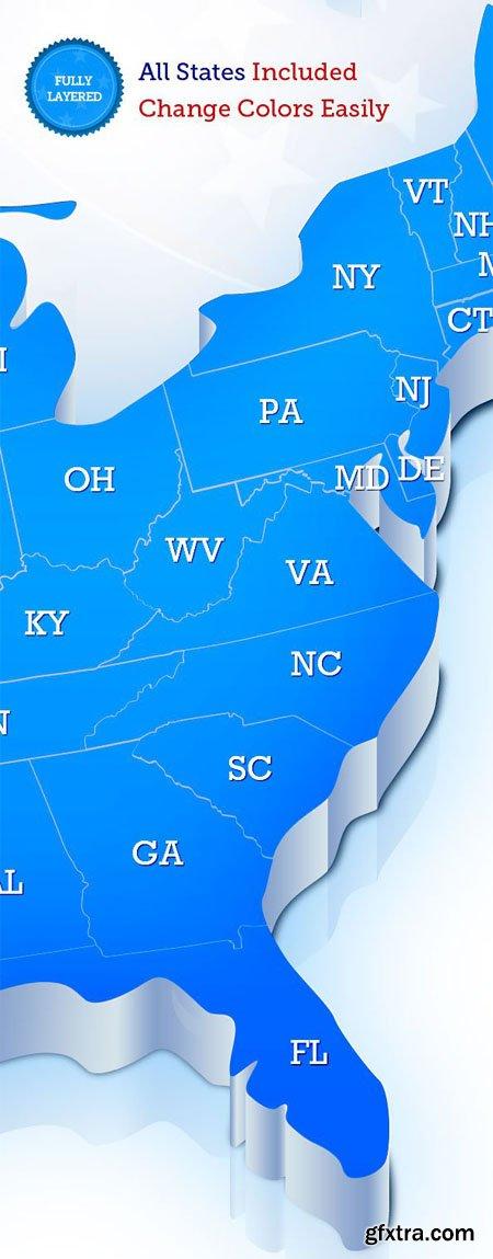 USA Map PSD Template
