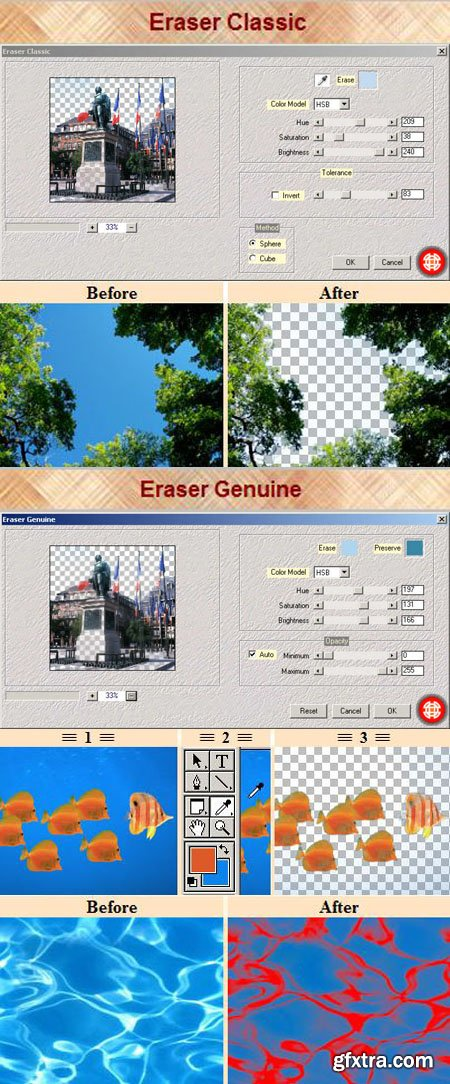 Eraser Classic & Eraser Genuine - Photoshop Plug-ins