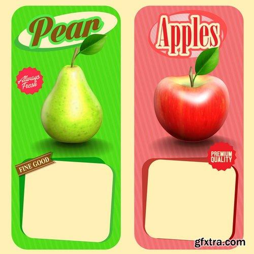 Fruit Labels Premium Vectors 25xEPS