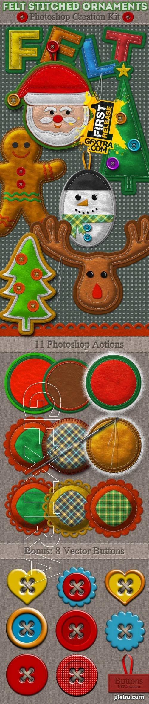 GraphicRiver - Felt Stitched Ornaments Photoshop Creation Kit 9693079