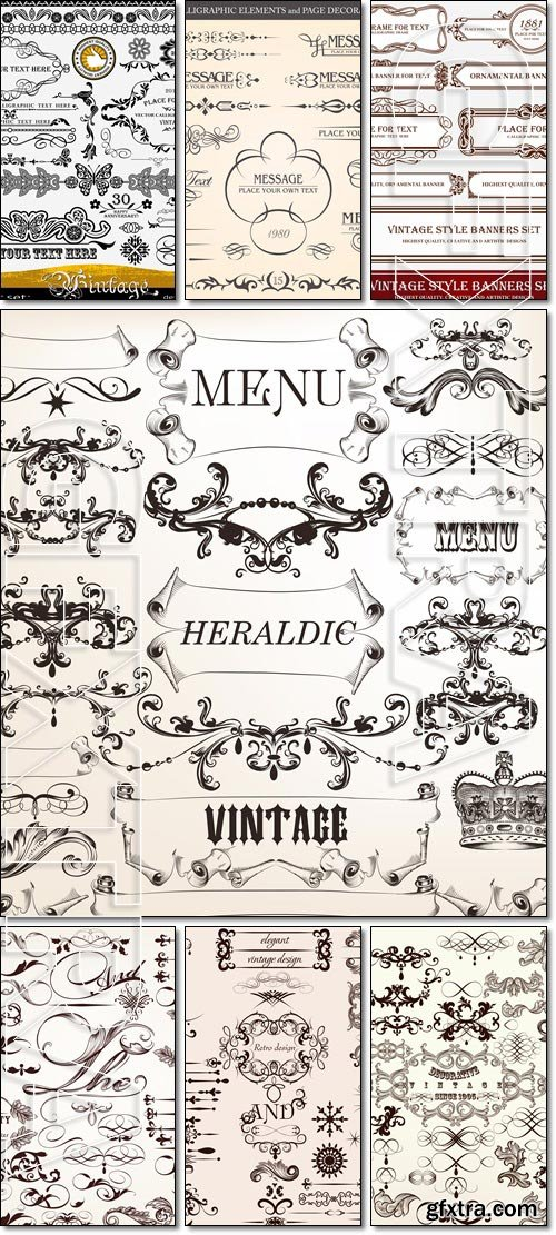 Vintage design elements - frames, dividers, corners - Vector