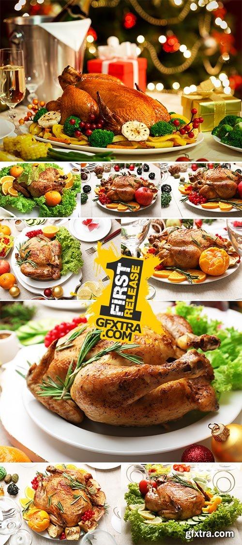 Stock Photo Baked chicken for festive dinner, Christmas table setting