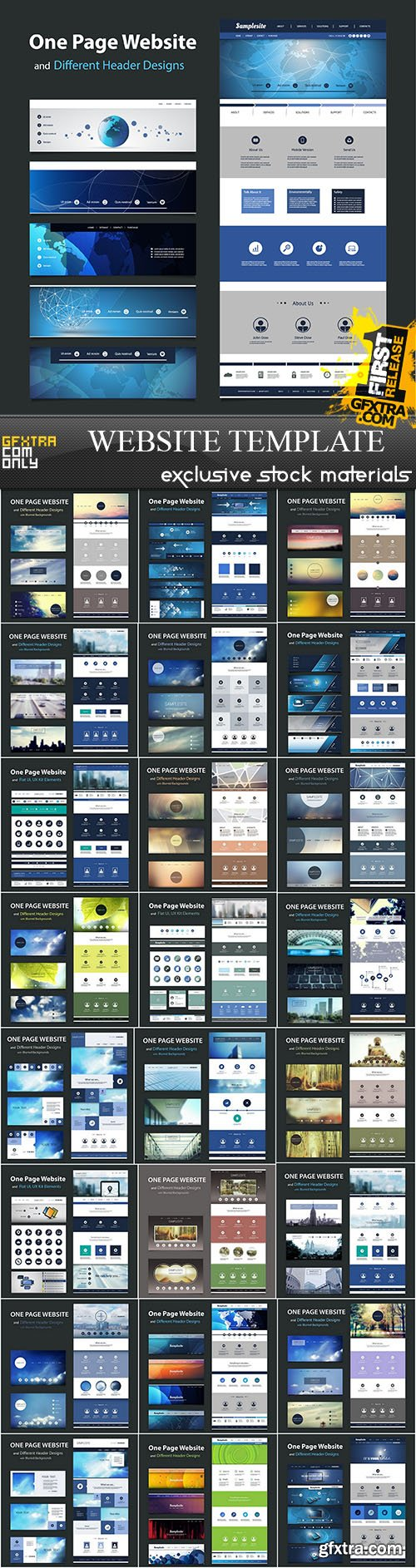 SS Website Template and Different Header Designs, 25xEPS