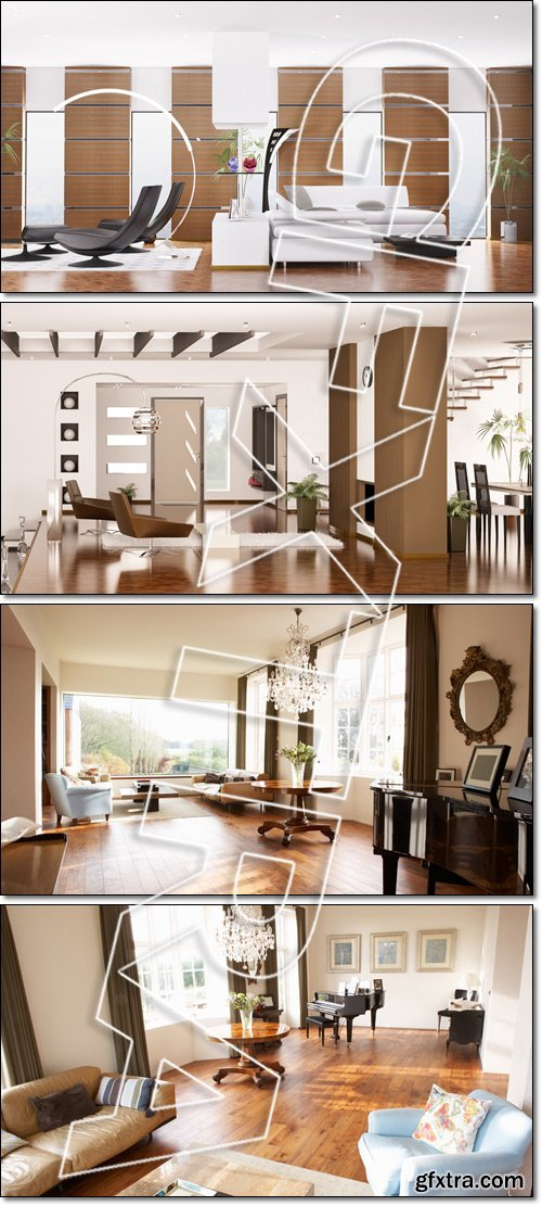 Modern apartment interior panorama 3d render - Stock photo