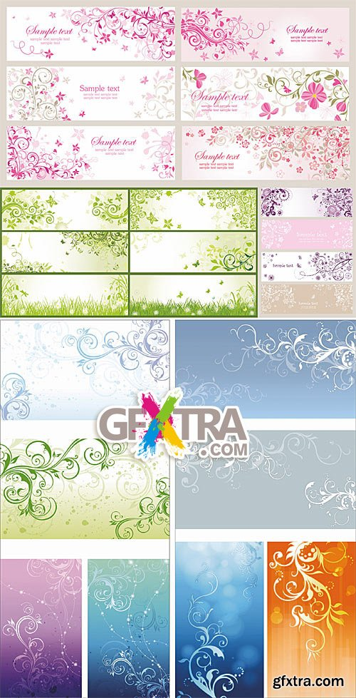 Floral banners with swirls