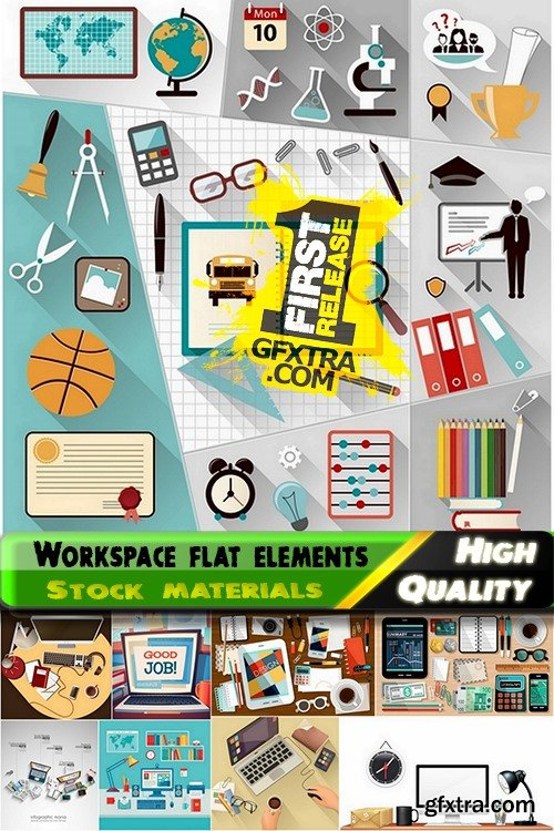 Workspace flat elements in vector from stock - 25 Eps