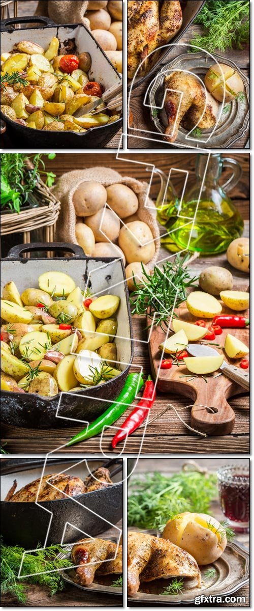 Rural meal with chicken and potato, Baked potatoes with rosemary and garlic - Stock photo