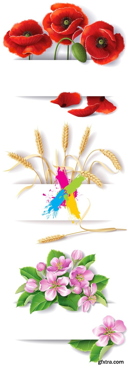 Banners with Flowers & Wheat Vector