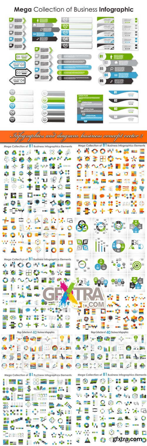 Infographics and diagram business concept vector 2